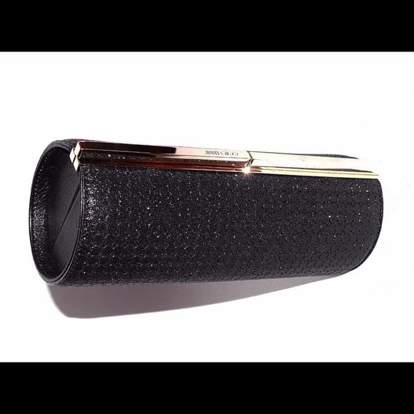 86448d6bcf9 New Jimmy Choo Trinket Glitter Fabric Tube Clutch